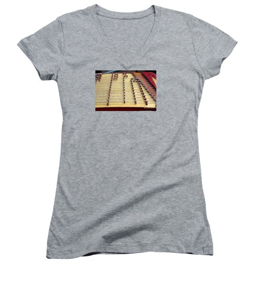Traditional Chinese Instrument Women's V-Neck T-Shirt (Junior Cut) by Yali Shi