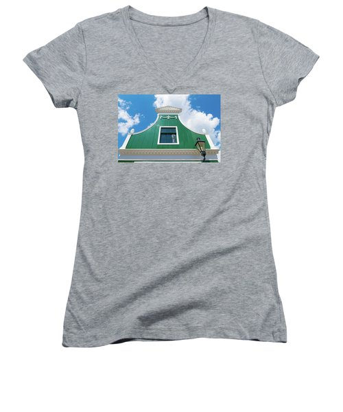 Women's V-Neck T-Shirt (Junior Cut) featuring the photograph Traditional Dutch House by Hans Engbers