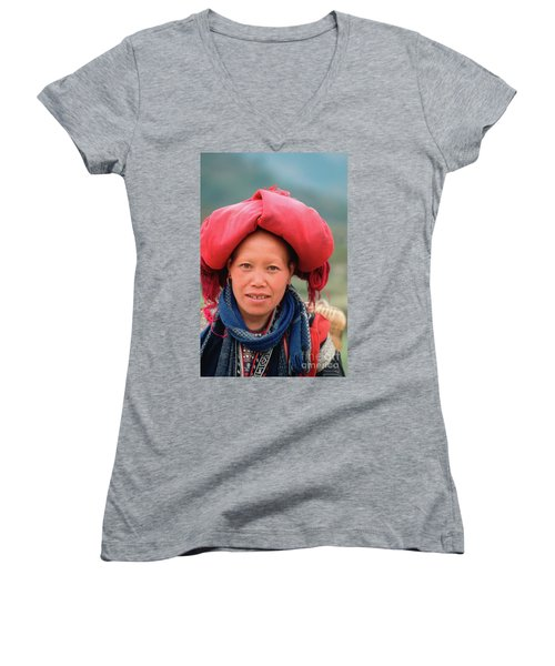Traditional Fashion Of A Red Dzao Woman Women's V-Neck