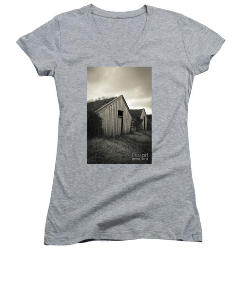 Women's V-Neck T-Shirt featuring the photograph Traditional Turf Or Sod Barns Iceland by Edward Fielding