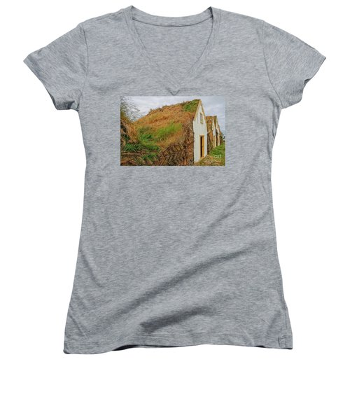 Traditional Turf Houses In Iceland Women's V-Neck (Athletic Fit)