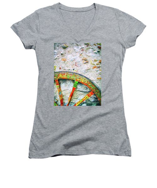 Women's V-Neck T-Shirt featuring the photograph Traditional Sicilian Cart Wheel Detail by Silvia Ganora