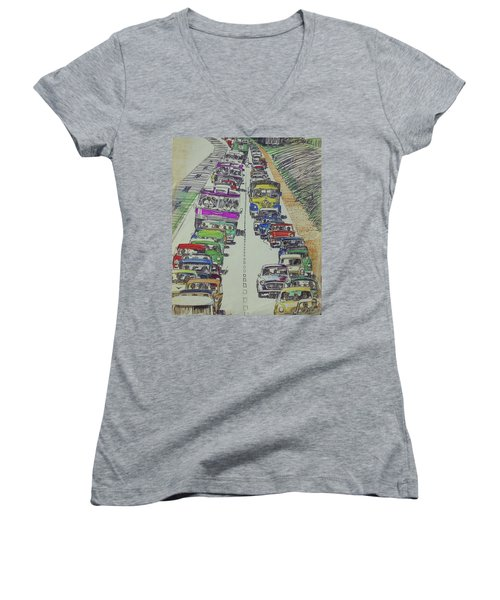 Women's V-Neck T-Shirt (Junior Cut) featuring the drawing Traffic 1960s. by Mike Jeffries