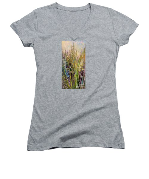 Women's V-Neck T-Shirt (Junior Cut) featuring the painting Trail Of Beauty by Tatiana Iliina