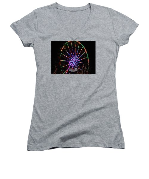 Trail Of Lights #7427 Women's V-Neck T-Shirt (Junior Cut) by Barbara Tristan