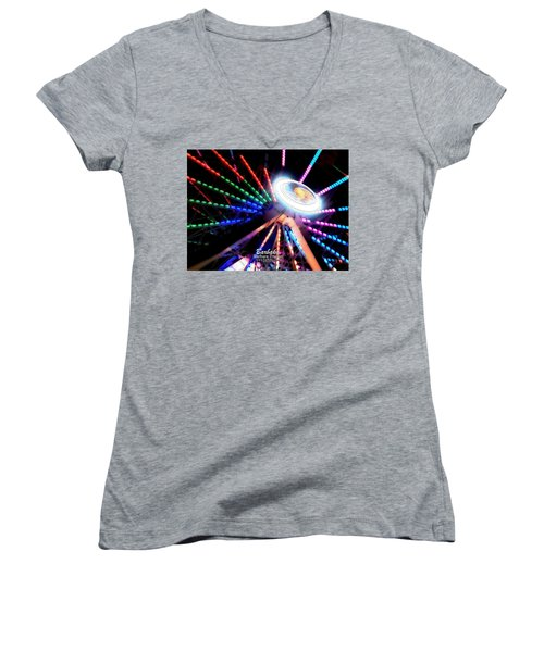 Trail Of Lights Abstract #7486 Women's V-Neck T-Shirt (Junior Cut) by Barbara Tristan