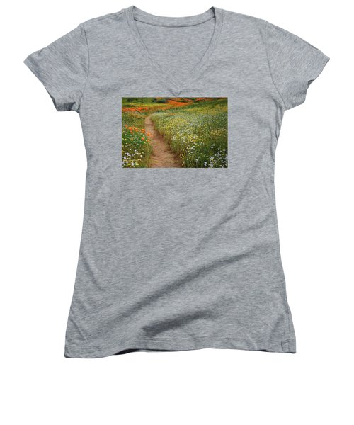 Women's V-Neck T-Shirt (Junior Cut) featuring the photograph Trail Of Wildflowers At Diamond Lake In California by Jetson Nguyen