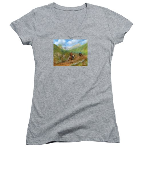 Women's V-Neck T-Shirt (Junior Cut) featuring the painting Trail Ride In Sabino Canyon by Judy Filarecki