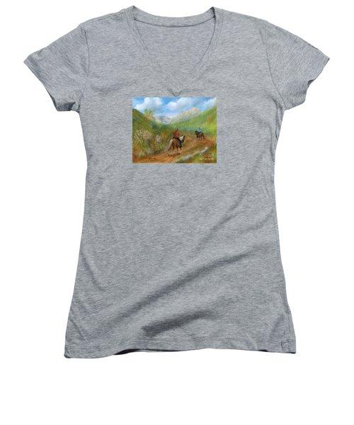 Trail Ride In Sabino Canyon Women's V-Neck T-Shirt (Junior Cut) by Judy Filarecki