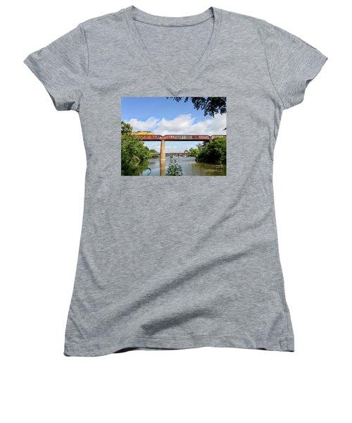 Train Across Lady Bird Lake Women's V-Neck T-Shirt (Junior Cut) by Felipe Adan Lerma