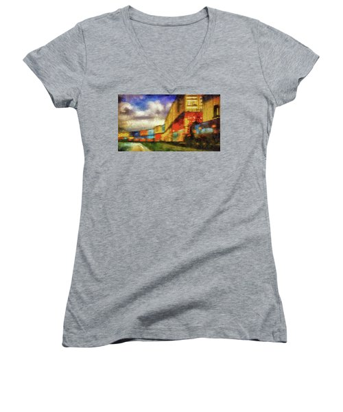 Train Freight Cars Women's V-Neck (Athletic Fit)