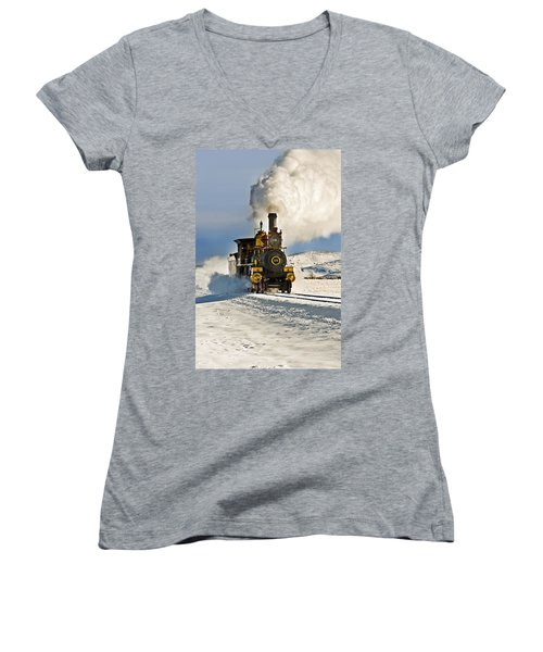 Women's V-Neck featuring the photograph Train In Winter by Scott Read