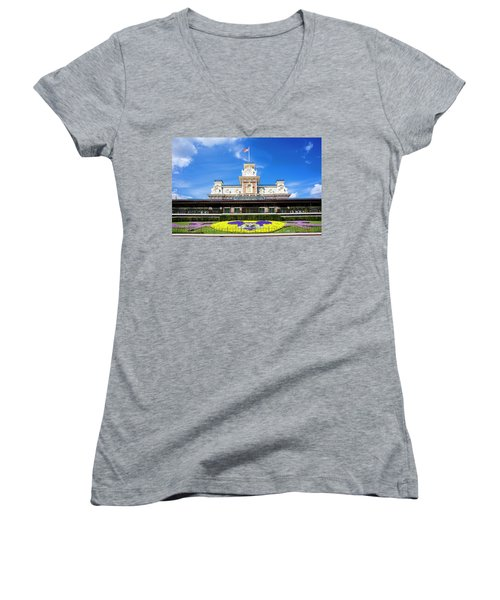 Women's V-Neck T-Shirt (Junior Cut) featuring the photograph Train Station by Greg Fortier