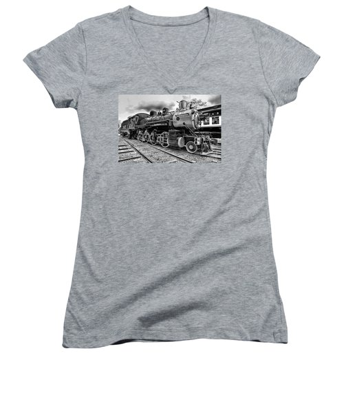 Train - Steam Engine Locomotive 385 In Black And White Women's V-Neck (Athletic Fit)