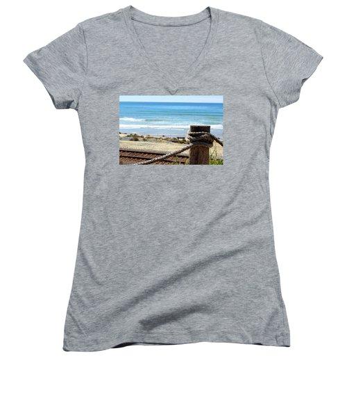 Train Tracks Women's V-Neck T-Shirt