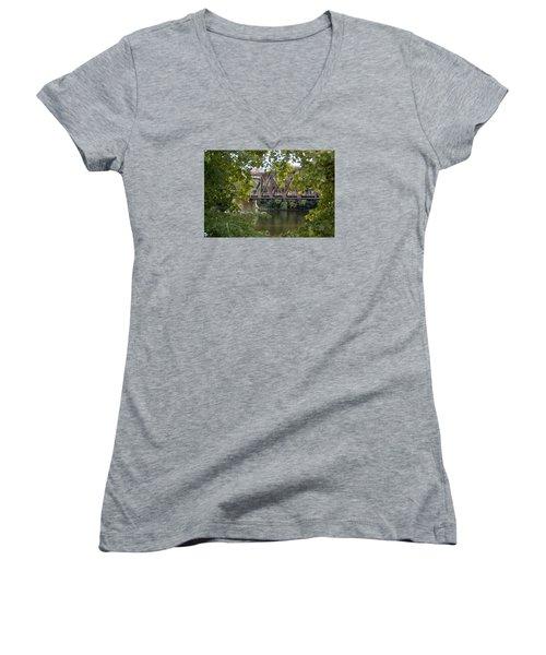 Women's V-Neck T-Shirt (Junior Cut) featuring the photograph Train Trestle by Michael Dorn