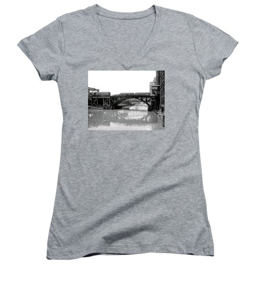 Women's V-Neck T-Shirt (Junior Cut) featuring the photograph Trains Cross Jack Knife Bridge - Chicago C. 1907 by Daniel Hagerman