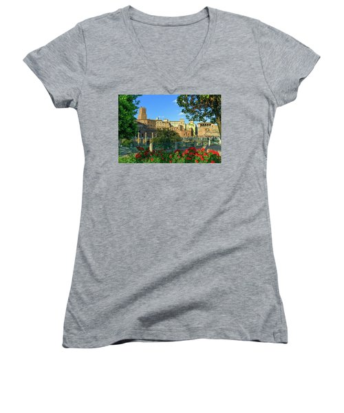 Trajan's Forum, Traiani, Roma, Italy Women's V-Neck T-Shirt (Junior Cut) by Elenarts - Elena Duvernay photo