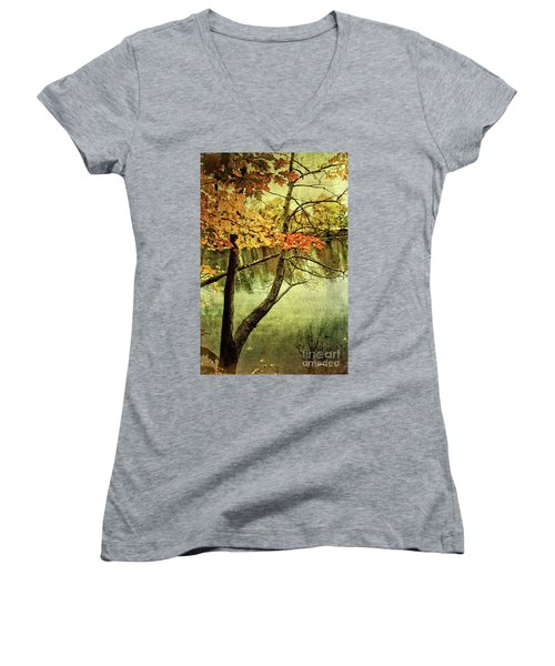 Tranquil Autumn Day Women's V-Neck (Athletic Fit)