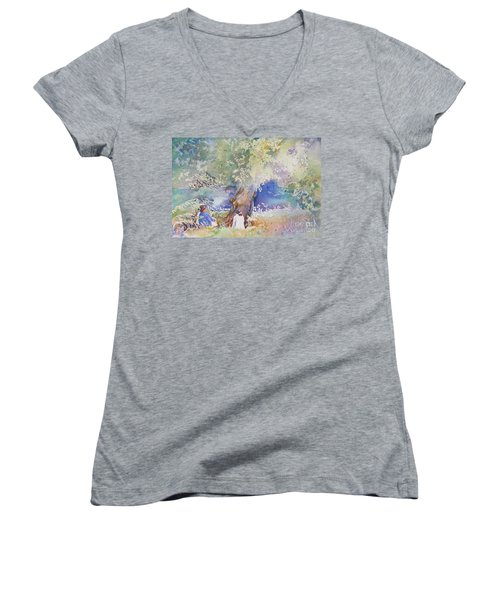 Women's V-Neck T-Shirt (Junior Cut) featuring the painting Tranquility At The Brandywine River by Mary Haley-Rocks