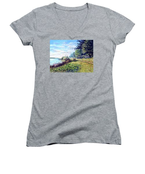 Women's V-Neck T-Shirt (Junior Cut) featuring the painting Tranquility by Heidi Kriel
