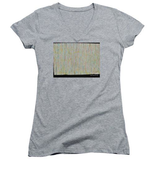 Women's V-Neck T-Shirt (Junior Cut) featuring the painting Tranquility by Jacqueline Athmann