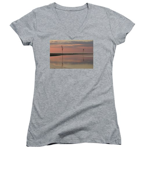 Tranquility  Women's V-Neck T-Shirt (Junior Cut) by Patrice Zinck