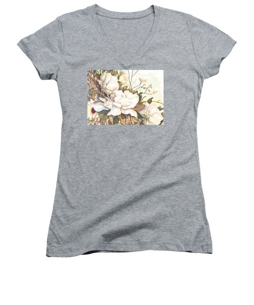 Tranquility Study In White Women's V-Neck