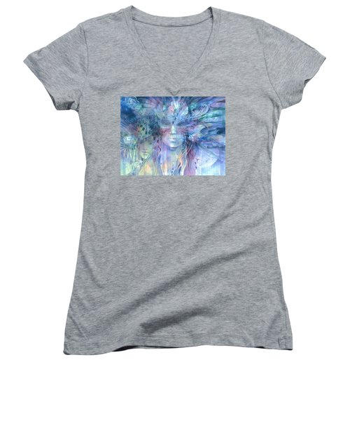 Women's V-Neck featuring the painting Transcending Worlds by Carolyn Utigard Thomas