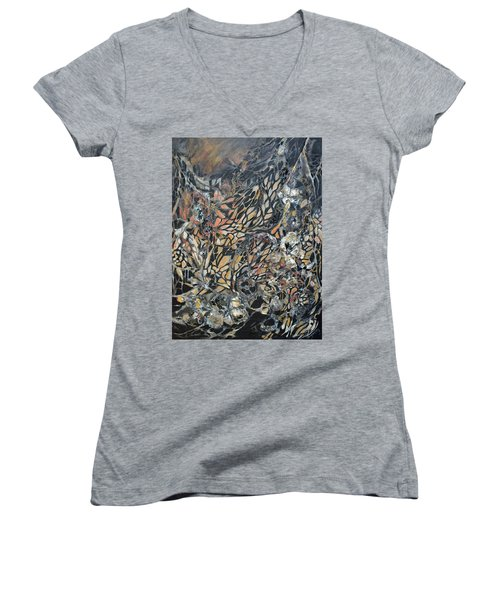 Women's V-Neck T-Shirt (Junior Cut) featuring the mixed media Transformation by Joanne Smoley