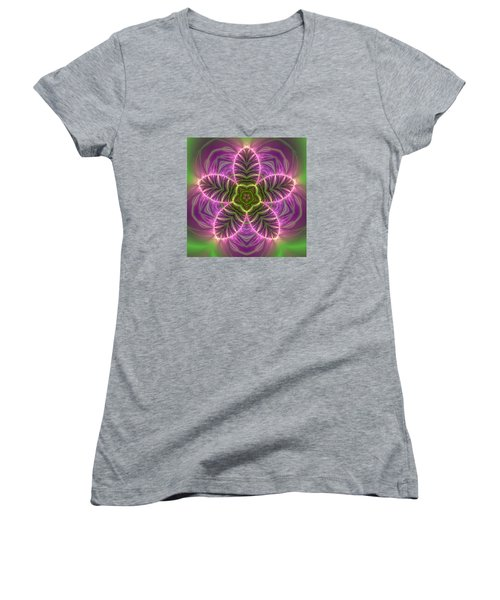 Transition Flower Women's V-Neck T-Shirt (Junior Cut) by Robert Thalmeier