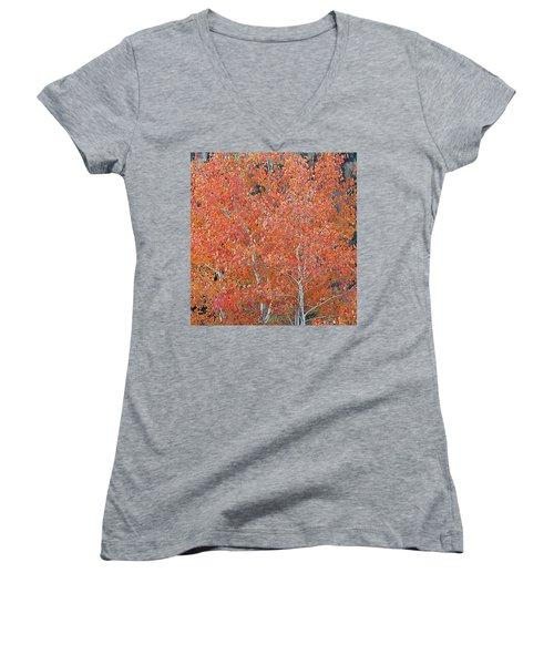 Translucent Aspen Orange Women's V-Neck (Athletic Fit)