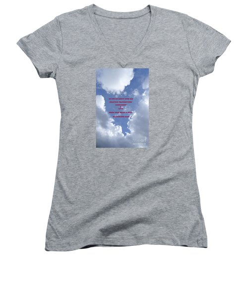 Transmit Compassion And Love Women's V-Neck T-Shirt (Junior Cut) by Nora Boghossian