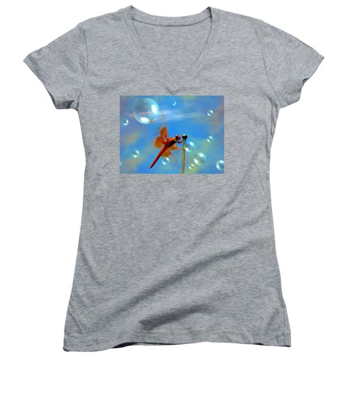Transparent Red Dragonfly Women's V-Neck T-Shirt (Junior Cut) by Joyce Dickens