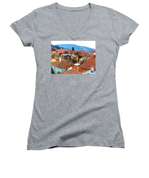 Transylvania Rooftops Women's V-Neck T-Shirt