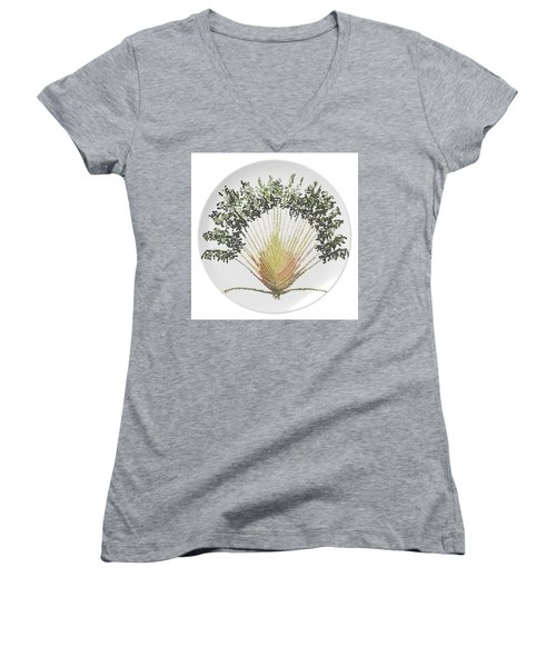 Travelers Palm Plate Women's V-Neck T-Shirt (Junior Cut) by R  Allen Swezey