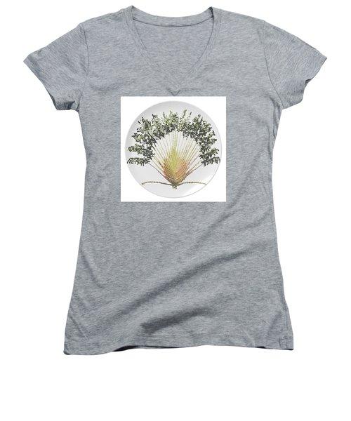 Women's V-Neck T-Shirt (Junior Cut) featuring the digital art Travelers Palm Plate by R  Allen Swezey