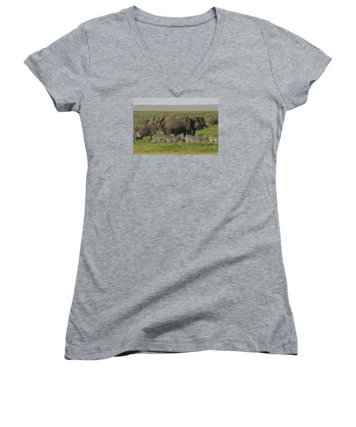Women's V-Neck T-Shirt (Junior Cut) featuring the photograph Travelling Companions by Gary Hall