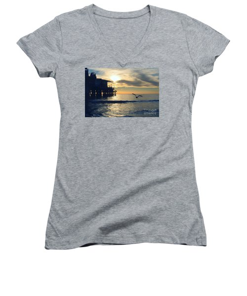 Seagull Pier Sunrise Seascape C1 Women's V-Neck