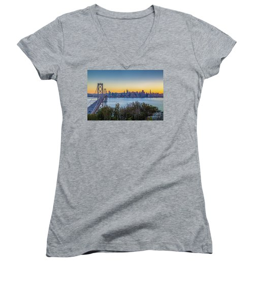 Treasure Island Sunset Women's V-Neck T-Shirt (Junior Cut) by JR Photography