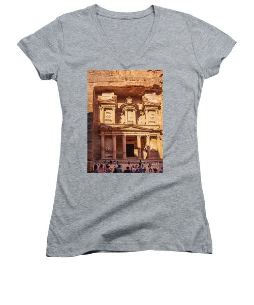 Women's V-Neck featuring the photograph Treasury Of Petra In Color by Mae Wertz