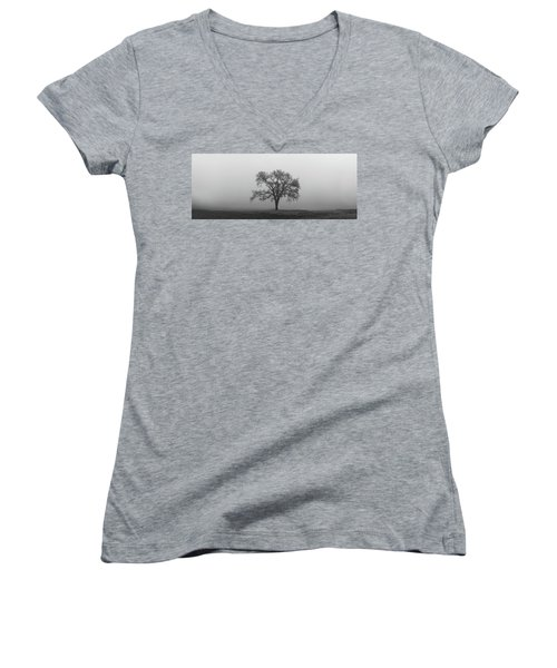 Women's V-Neck (Athletic Fit) featuring the photograph Tree Alone In The Fog by Todd Aaron