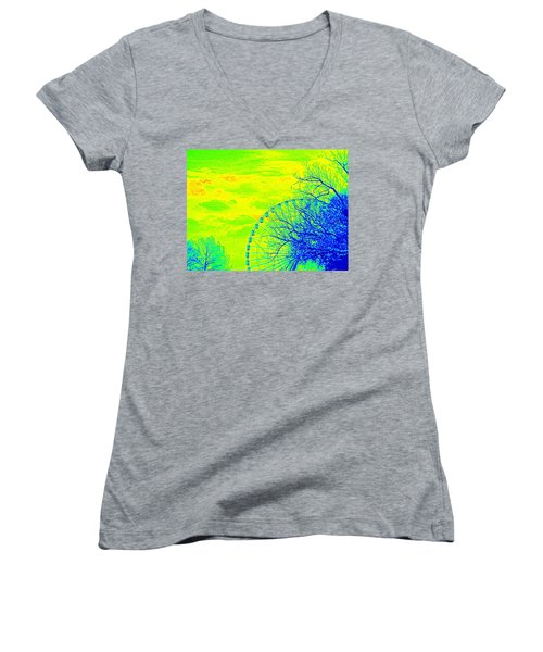 Tree And Ferris Wheel  Women's V-Neck
