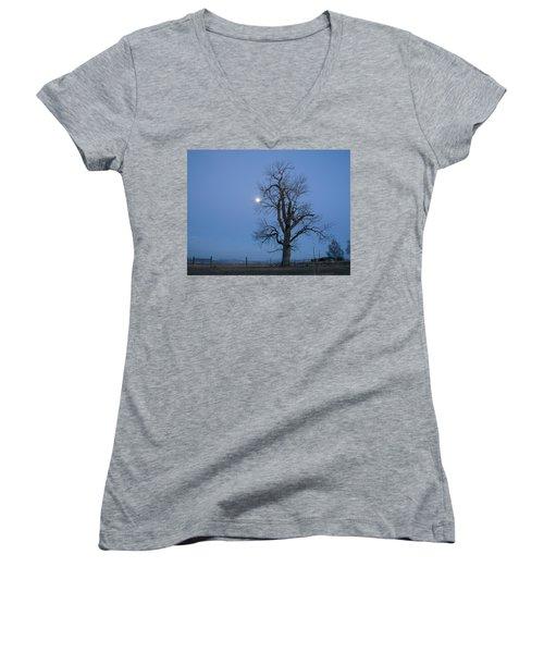 Tree And Moon Women's V-Neck