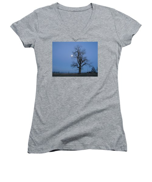 Tree And Moon Women's V-Neck (Athletic Fit)