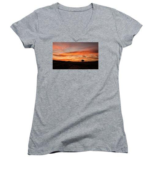 Tree At Sunrise Women's V-Neck T-Shirt