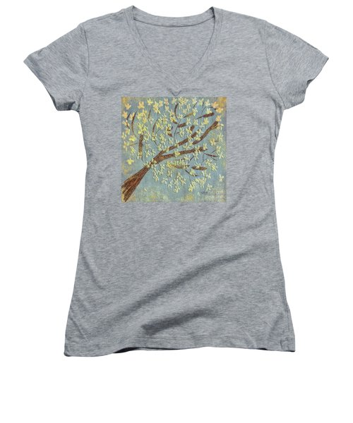 Women's V-Neck T-Shirt featuring the digital art Tree Blossoms by Lois Bryan