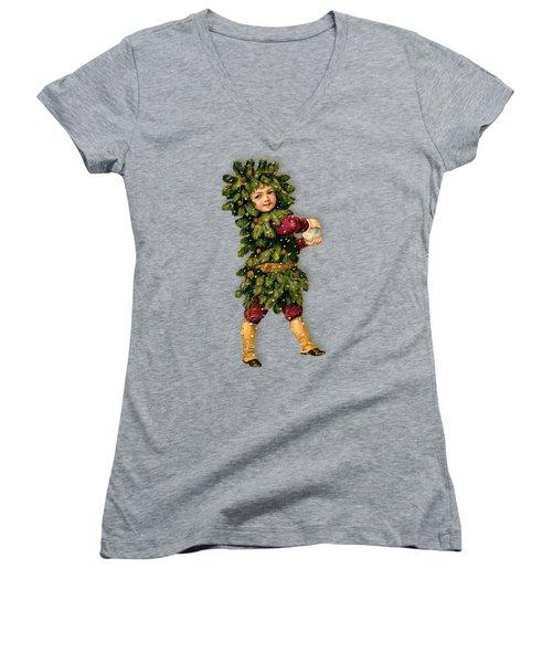 Tree Child Vintage Christmas Image Women's V-Neck T-Shirt (Junior Cut) by R Muirhead Art