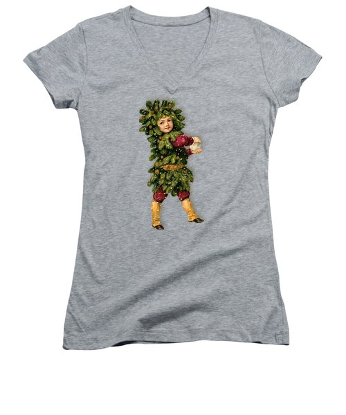 Tree Child Vintage Christmas Image Women's V-Neck (Athletic Fit)