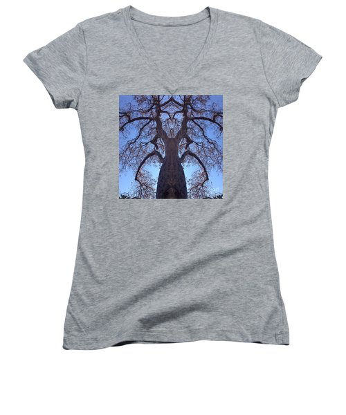 Women's V-Neck T-Shirt (Junior Cut) featuring the photograph Tree Creature by Nora Boghossian